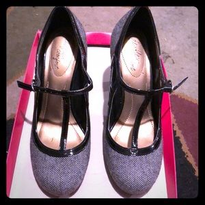 Grey and black high heels